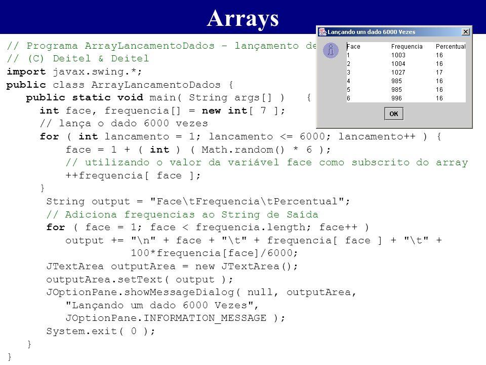 Arrays // Programa ArrayLancamentoDados - lançamento de 6000 vezes de um dado. // (C) Deitel & Deitel.