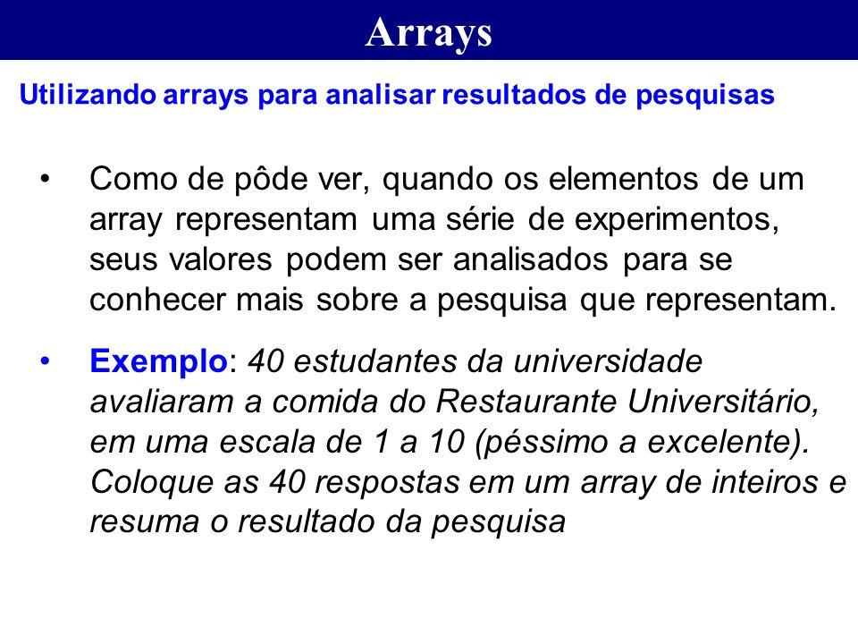 Arrays Utilizando arrays para analisar resultados de pesquisas.
