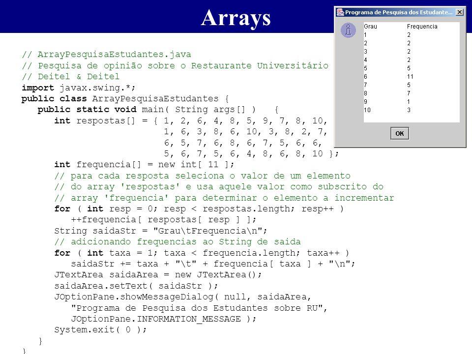 Arrays // ArrayPesquisaEstudantes.java