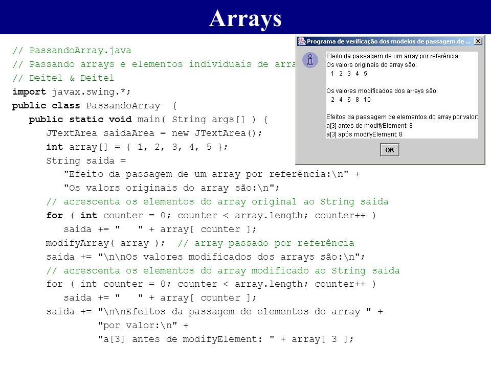 Arrays // PassandoArray.java
