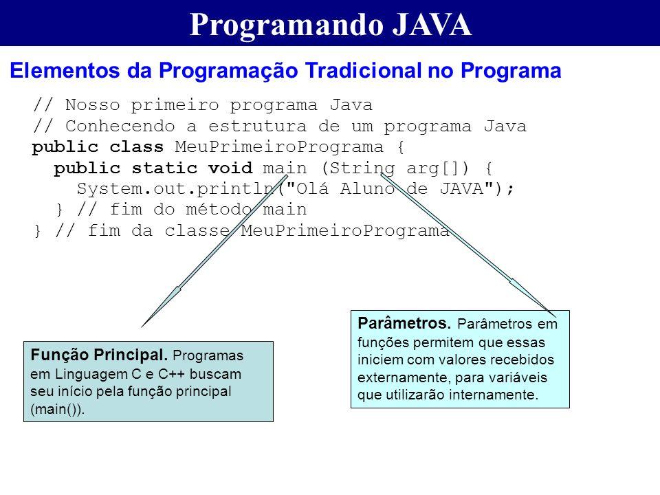 Programando JAVA Elementos da Programação Tradicional no Programa