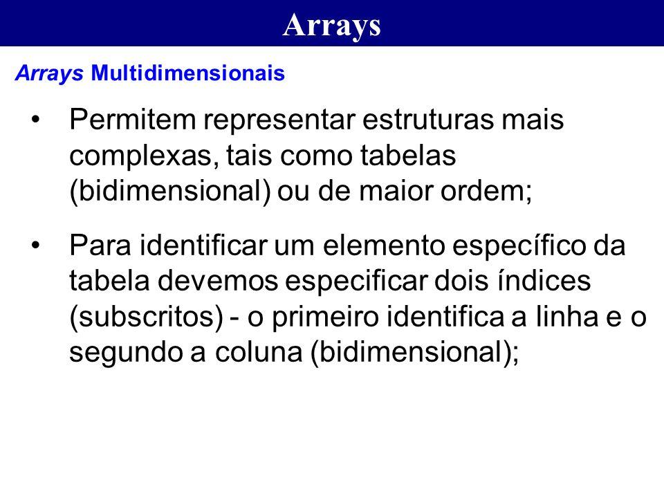 Arrays Arrays Multidimensionais. Permitem representar estruturas mais complexas, tais como tabelas (bidimensional) ou de maior ordem;