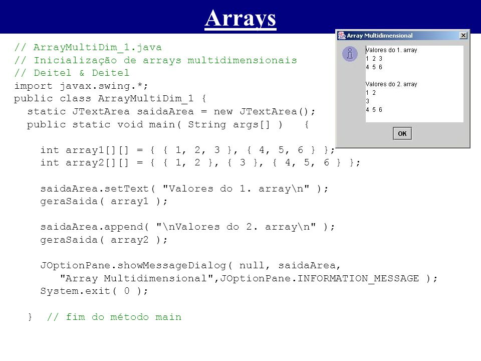 Arrays // ArrayMultiDim_1.java