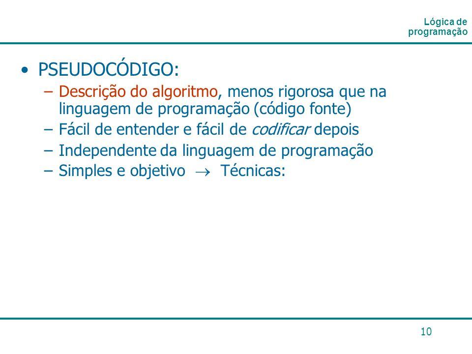 Lógica de programaçãoPSEUDOCÓDIGO: Descrição do algoritmo, menos rigorosa que na linguagem de programação (código fonte)