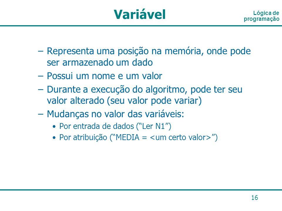 VariávelLógica de programação. Representa uma posição na memória, onde pode ser armazenado um dado.