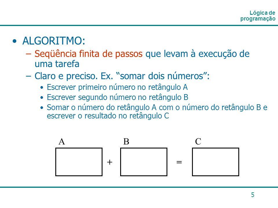 Lógica de programação ALGORITMO: Seqüência finita de passos que levam à execução de uma tarefa. Claro e preciso. Ex. somar dois números :
