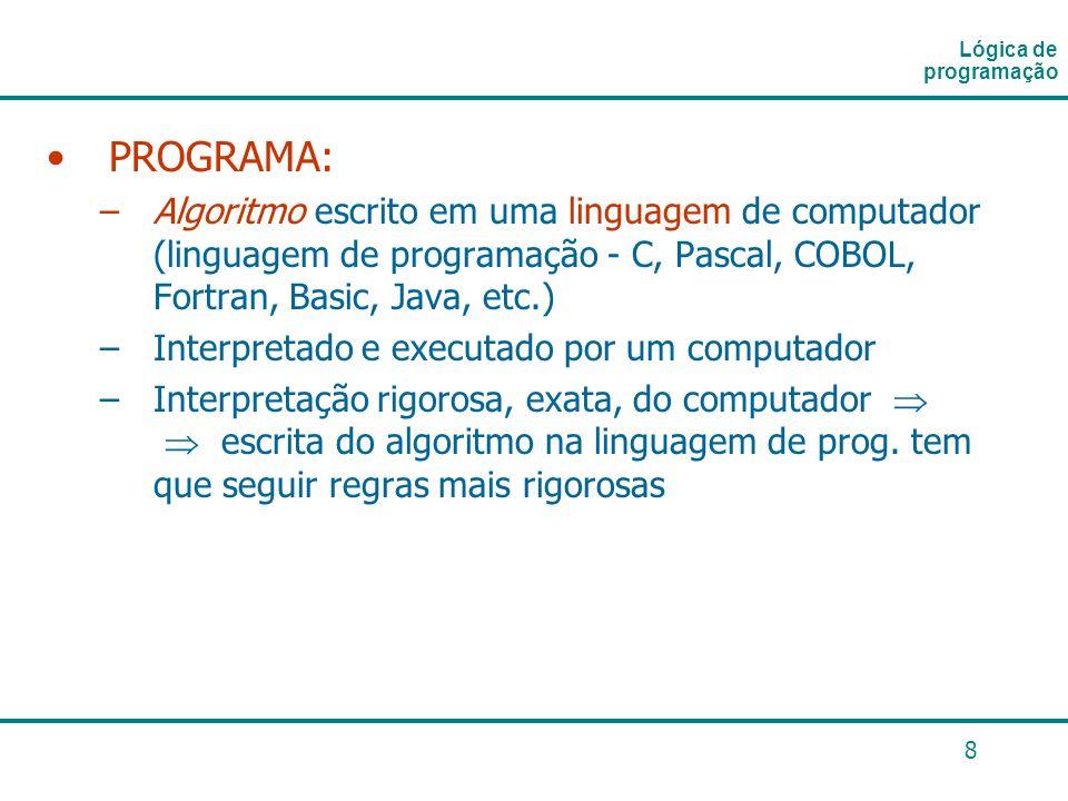 Lógica de programação PROGRAMA: