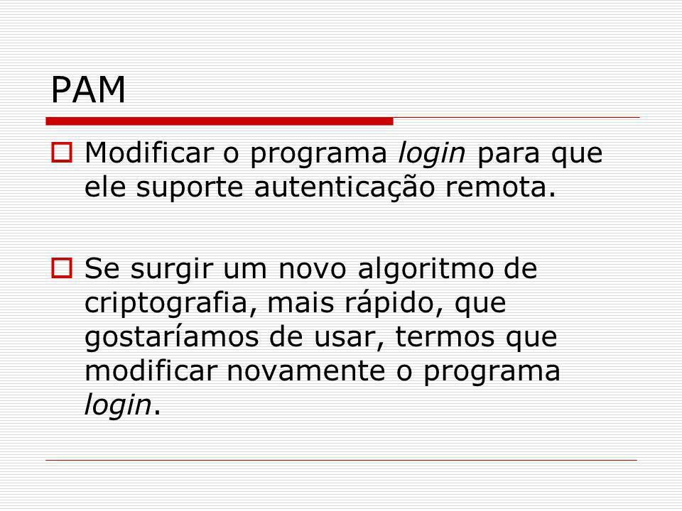 PAMModificar o programa login para que ele suporte autenticação remota.
