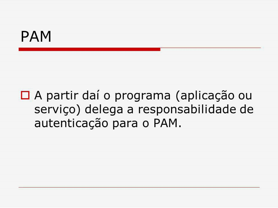 PAMA partir daí o programa (aplicação ou serviço) delega a responsabilidade de autenticação para o PAM.