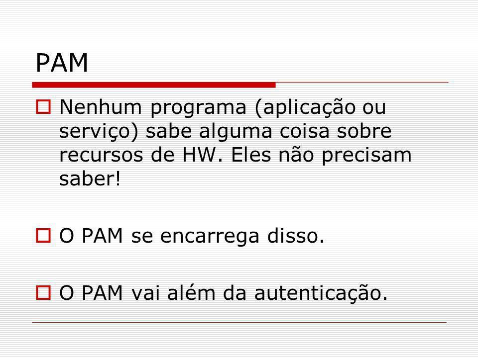 PAMNenhum programa (aplicação ou serviço) sabe alguma coisa sobre recursos de HW. Eles não precisam saber!