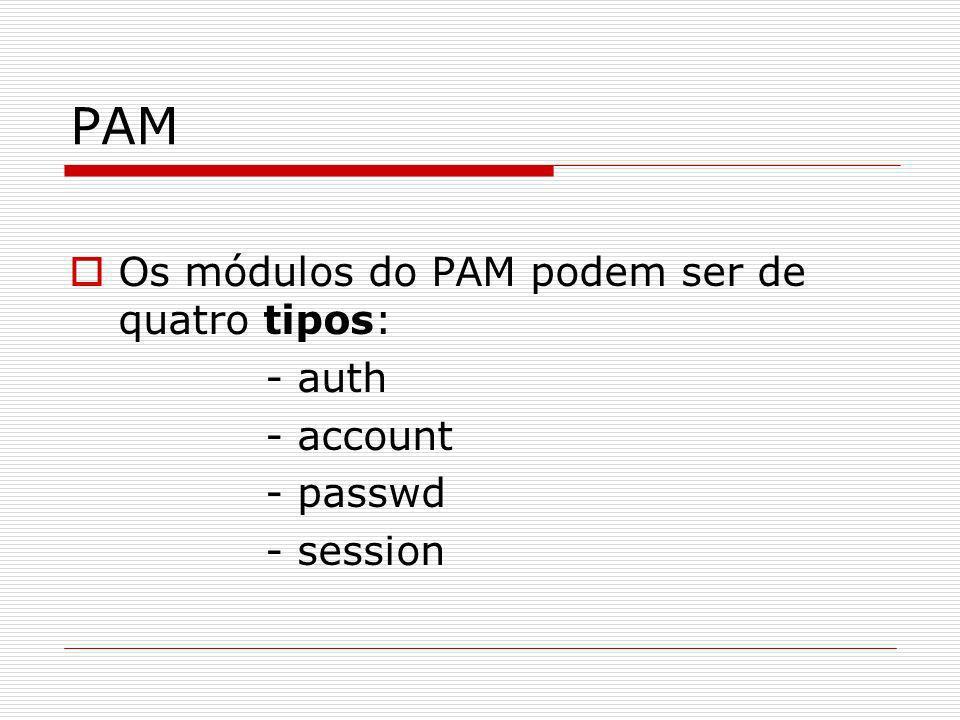 PAM Os módulos do PAM podem ser de quatro tipos: - auth - account