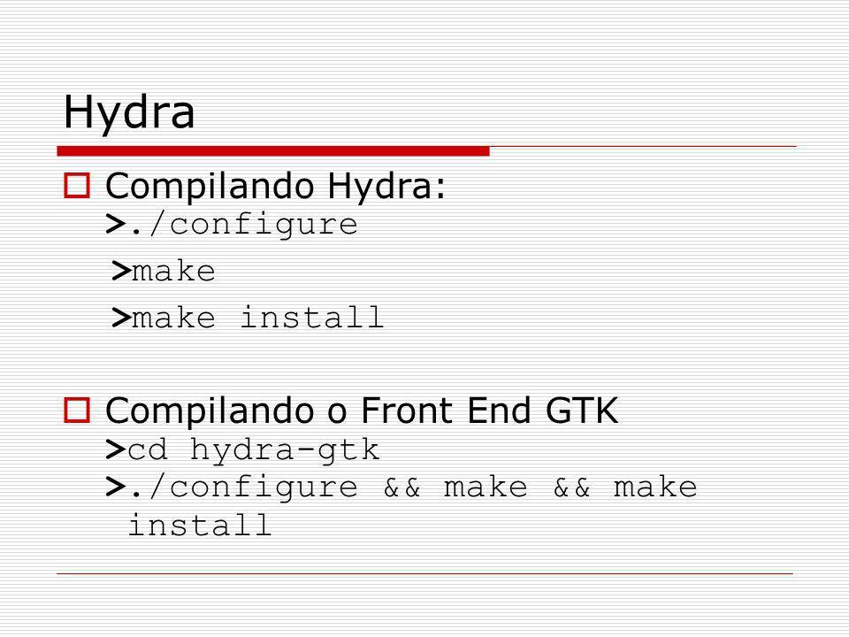 Hydra Compilando Hydra: >./configure >make >make install