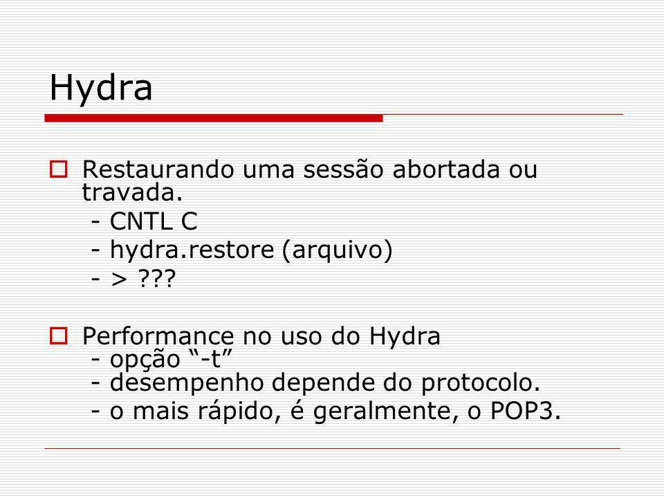 Hydra Restaurando uma sessão abortada ou travada. - CNTL C