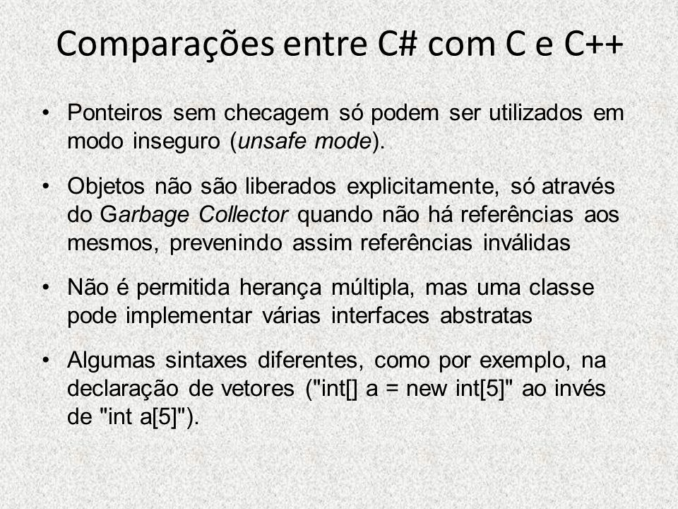 Comparações entre C# com C e C++