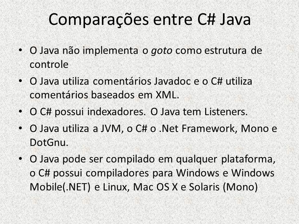 Comparações entre C# Java