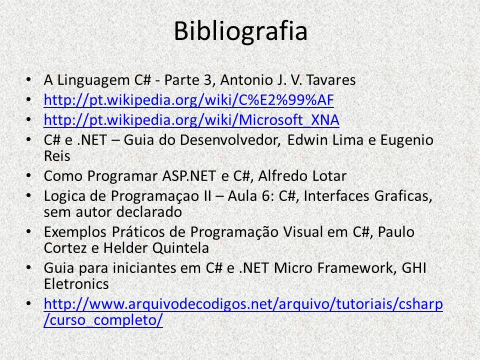 Bibliografia A Linguagem C# - Parte 3, Antonio J. V. Tavares