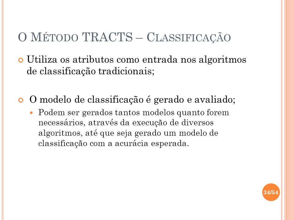 O Método TRACTS – Classificação