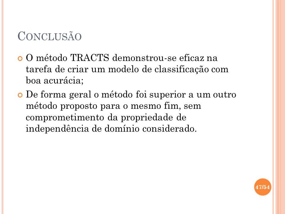 Conclusão O método TRACTS demonstrou-se eficaz na tarefa de criar um modelo de classificação com boa acurácia;
