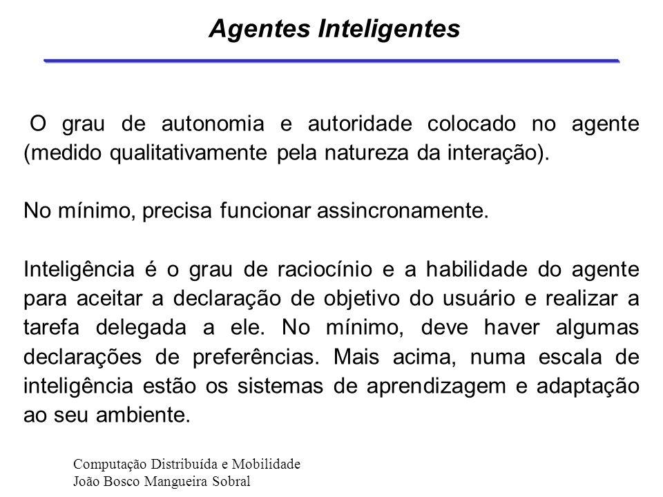 Agentes Inteligentes O grau de autonomia e autoridade colocado no agente (medido qualitativamente pela natureza da interação).