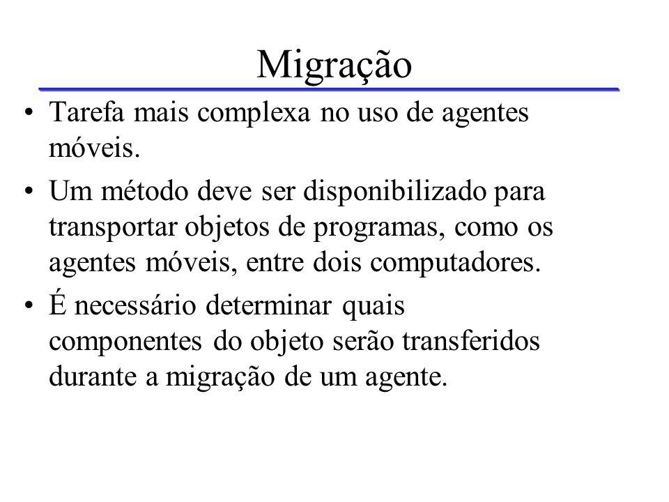 Migração Tarefa mais complexa no uso de agentes móveis.