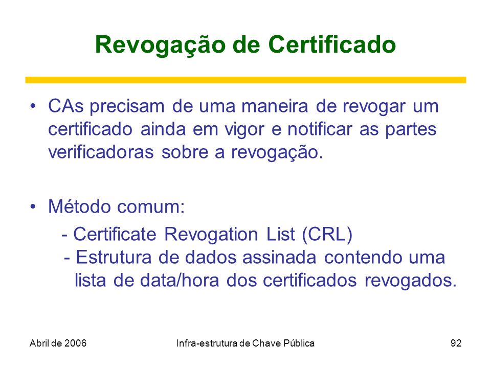 Revogação de Certificado