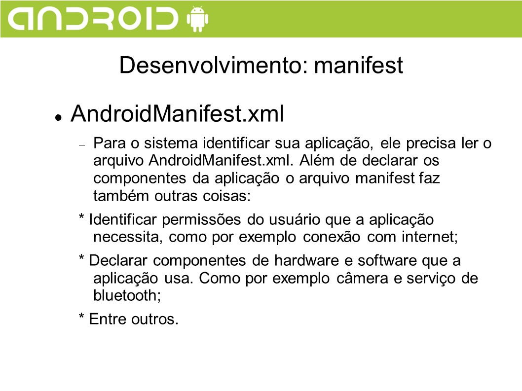 Desenvolvimento: manifest