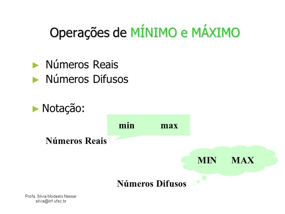 Operações de MÍNIMO e MÁXIMO