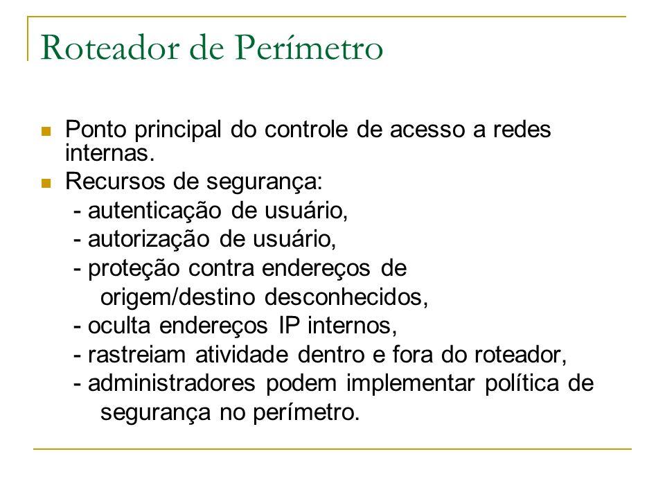 Roteador de Perímetro Ponto principal do controle de acesso a redes internas. Recursos de segurança: