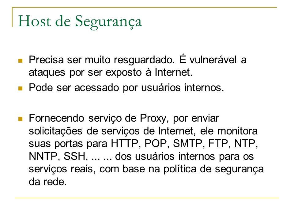 Host de Segurança Precisa ser muito resguardado. É vulnerável a ataques por ser exposto à Internet.