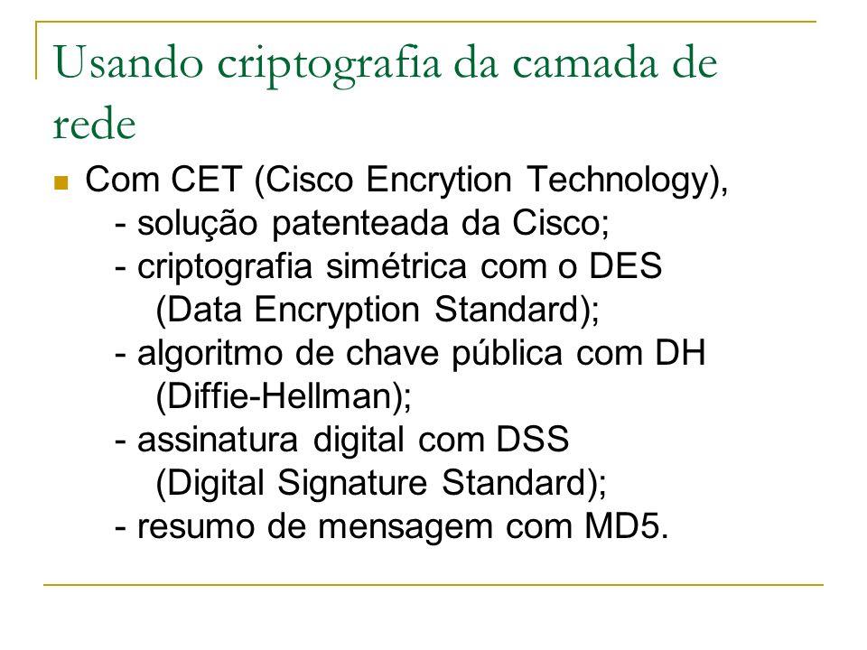 Usando criptografia da camada de rede