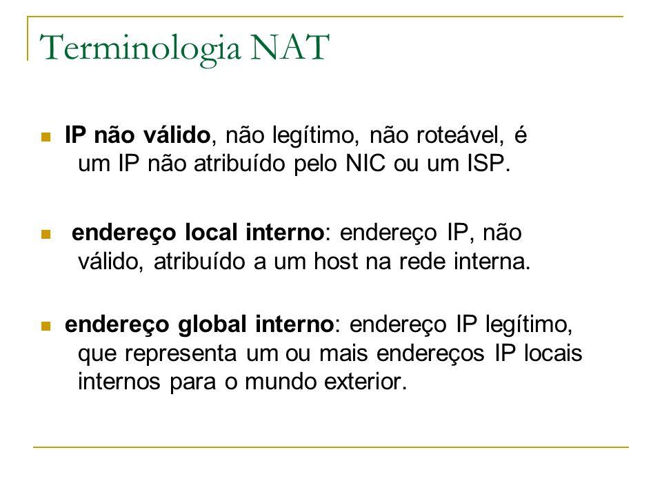 Terminologia NAT IP não válido, não legítimo, não roteável, é um IP não atribuído pelo NIC ou um ISP.