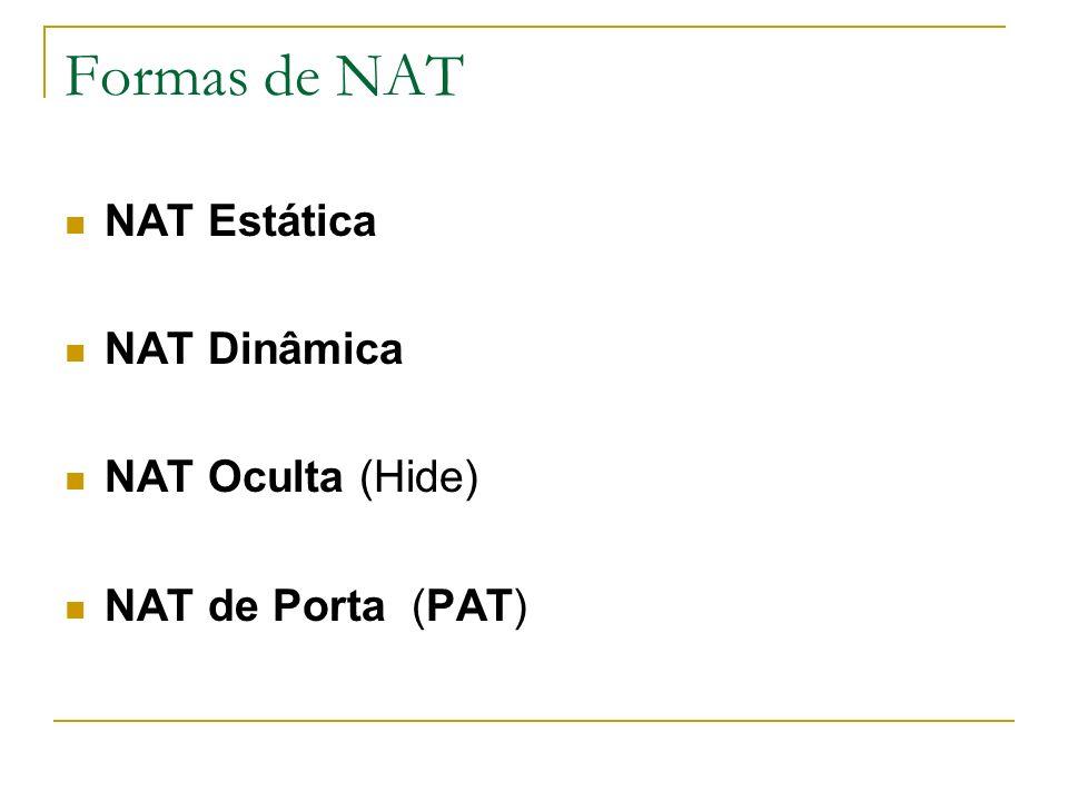 Formas de NAT NAT Estática NAT Dinâmica NAT Oculta (Hide)