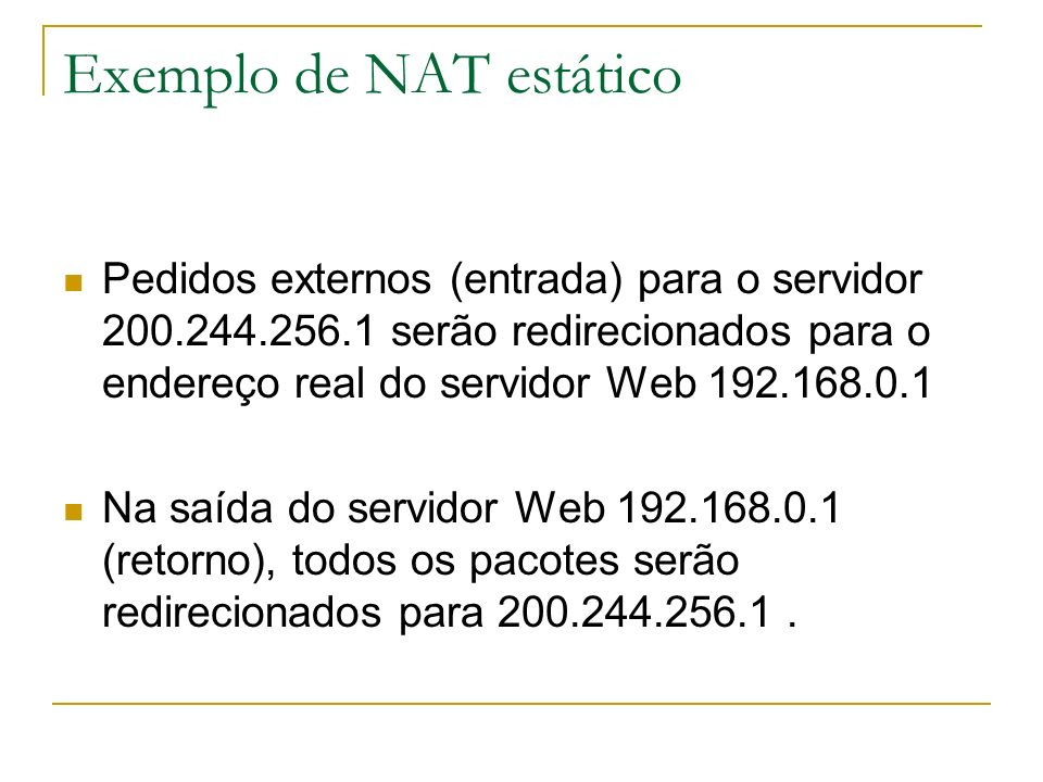 Exemplo de NAT estático