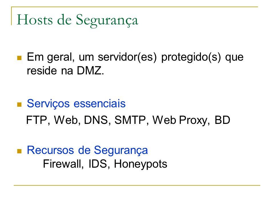 Hosts de Segurança Em geral, um servidor(es) protegido(s) que reside na DMZ. Serviços essenciais. FTP, Web, DNS, SMTP, Web Proxy, BD.