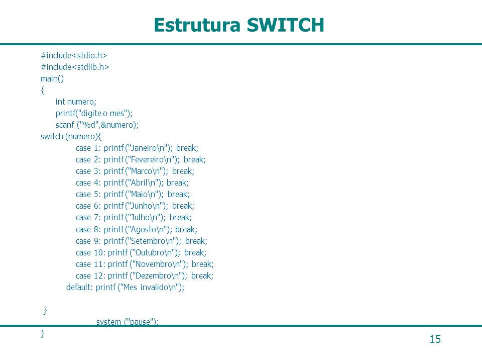 Estrutura SWITCH #include<stdio.h> #include<stdlib.h>