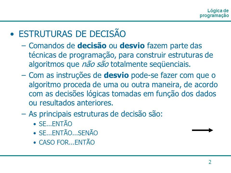 Lógica de programação ESTRUTURAS DE DECISÃO.