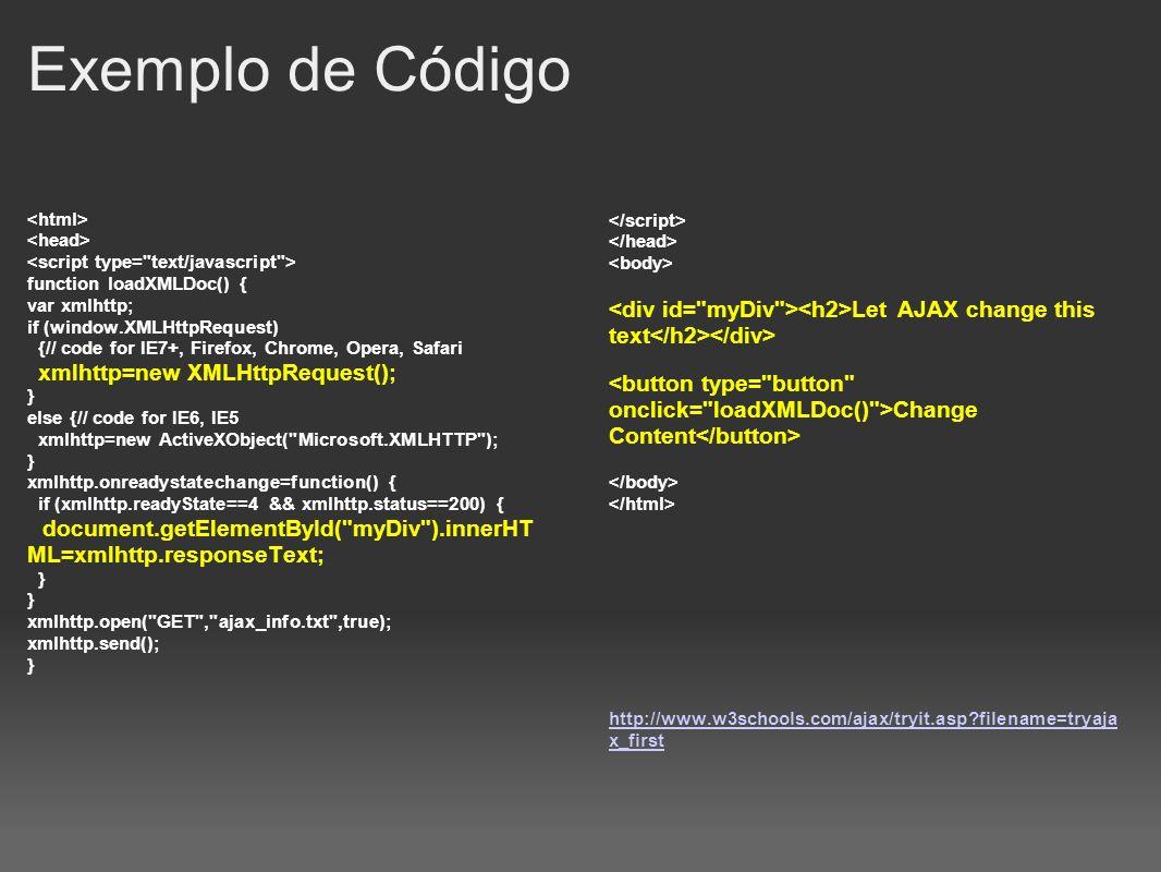 Exemplo de Código <html> <head> <script type= text/javascript > function loadXMLDoc() { var xmlhttp;