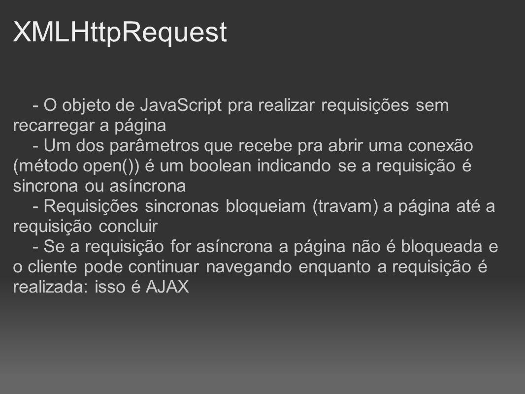 XMLHttpRequest - O objeto de JavaScript pra realizar requisições sem recarregar a página.
