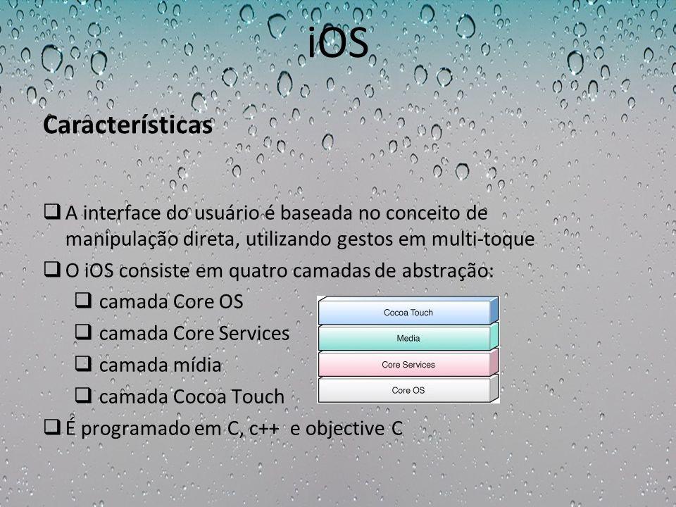 iOS Características. A interface do usuário é baseada no conceito de manipulação direta, utilizando gestos em multi-toque.