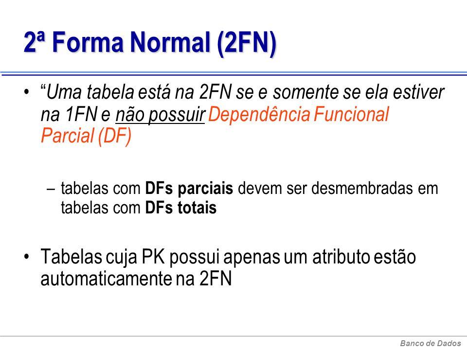 2ª Forma Normal (2FN) Uma tabela está na 2FN se e somente se ela estiver na 1FN e não possuir Dependência Funcional Parcial (DF)