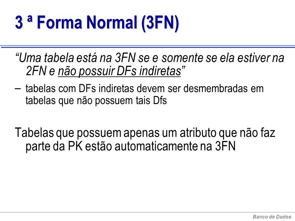 3 ª Forma Normal (3FN) Uma tabela está na 3FN se e somente se ela estiver na 2FN e não possuir DFs indiretas