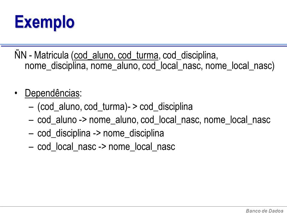 Exemplo ÑN - Matricula (cod_aluno, cod_turma, cod_disciplina, nome_disciplina, nome_aluno, cod_local_nasc, nome_local_nasc)