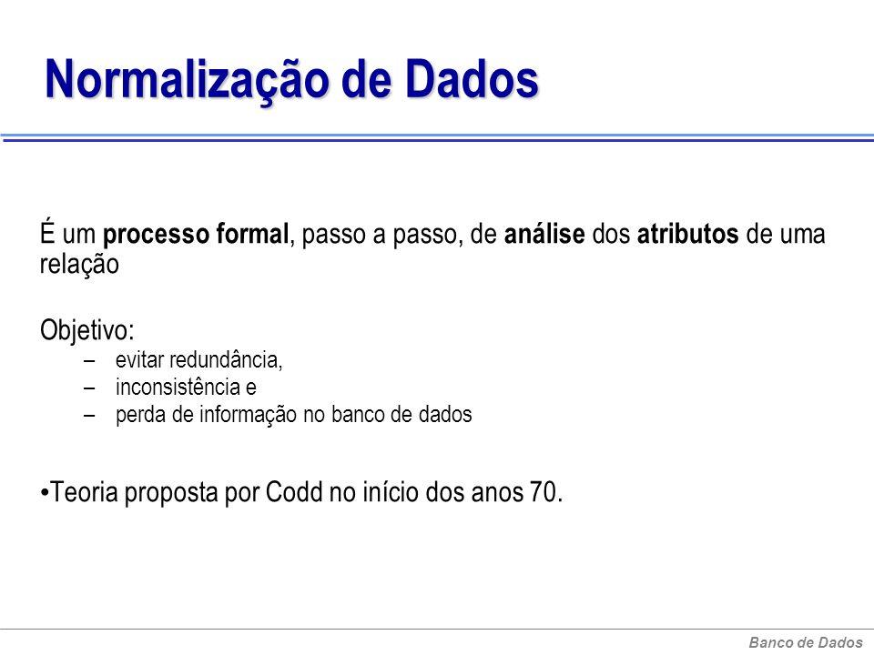 Normalização de Dados É um processo formal, passo a passo, de análise dos atributos de uma relação.