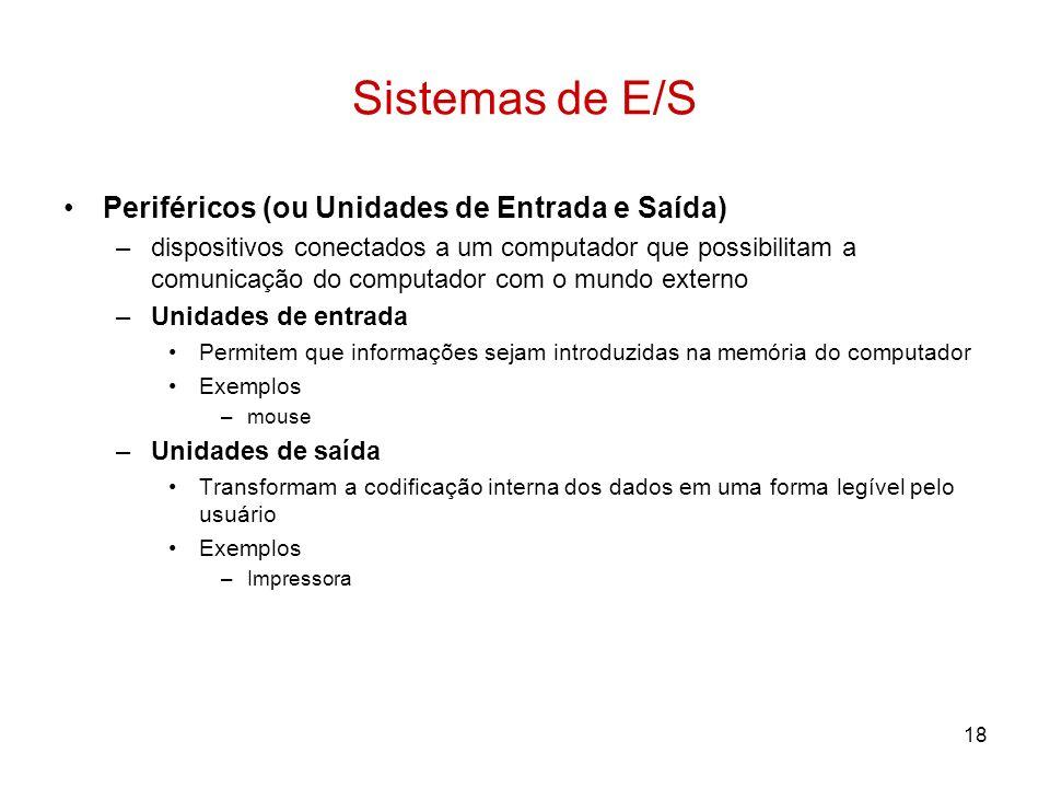 Sistemas de E/S Periféricos (ou Unidades de Entrada e Saída)