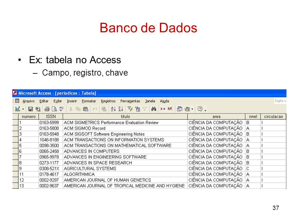 Banco de Dados Ex: tabela no Access Campo, registro, chave