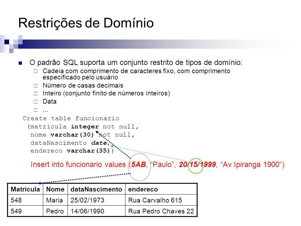 Restrições de Domínio O padrão SQL suporta um conjunto restrito de tipos de domínio: