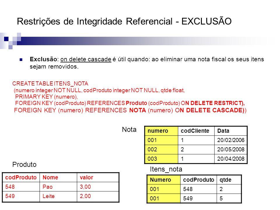Restrições de Integridade Referencial - EXCLUSÃO