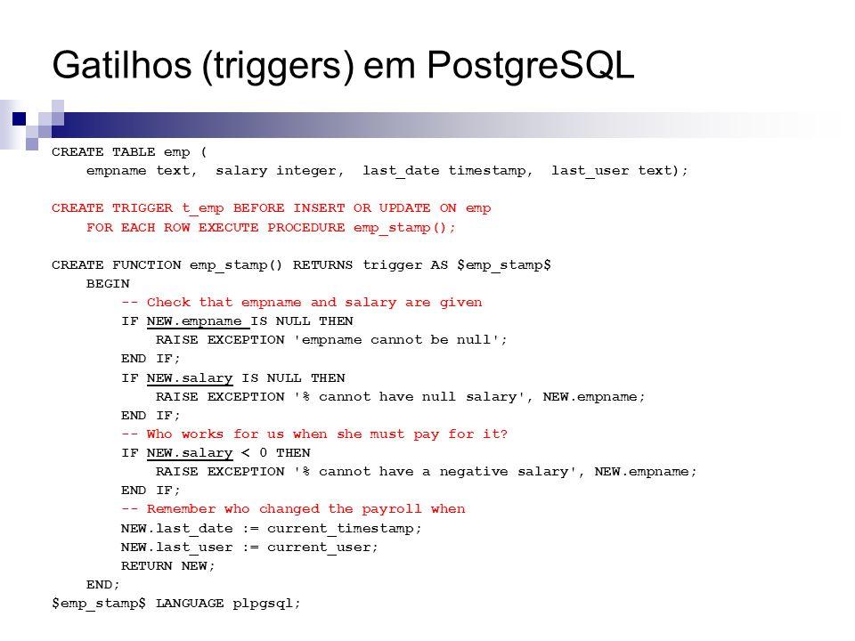 Gatilhos (triggers) em PostgreSQL