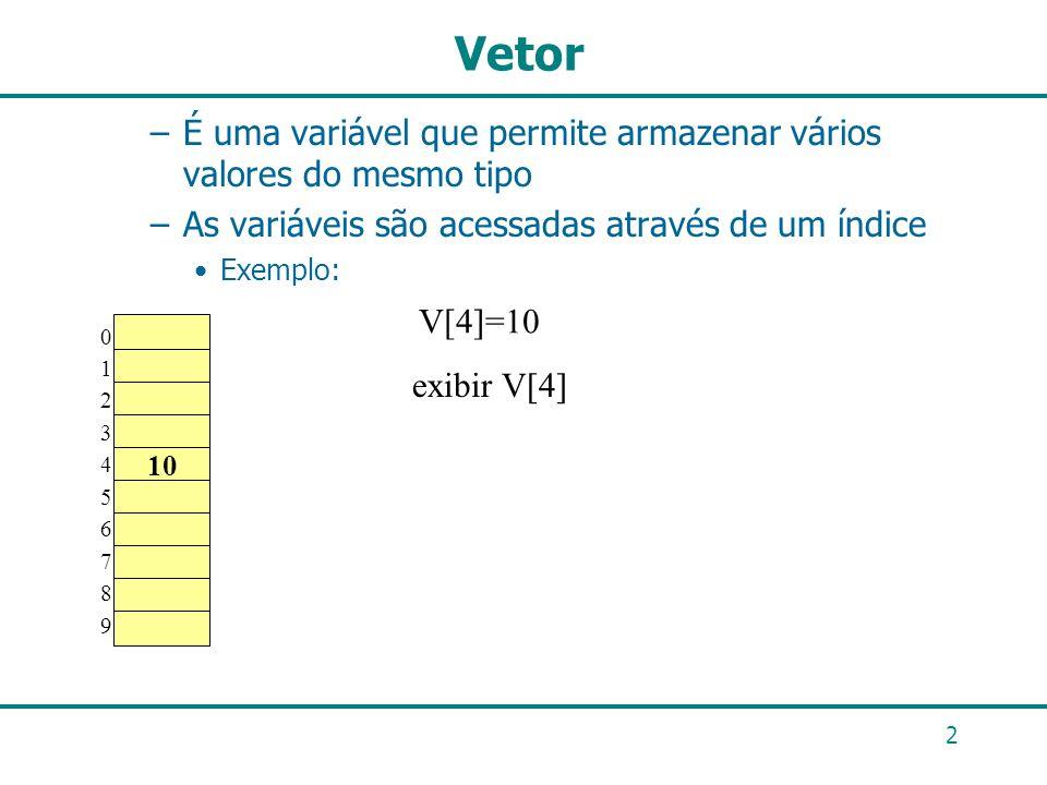 Vetor É uma variável que permite armazenar vários valores do mesmo tipo. As variáveis são acessadas através de um índice.