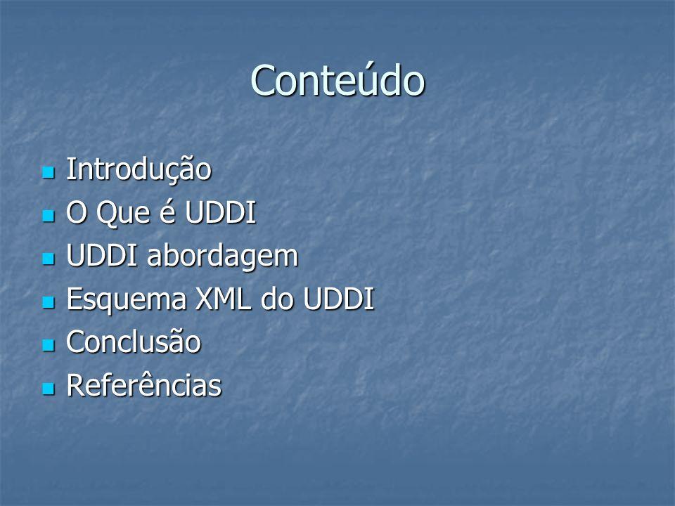 Conteúdo Introdução O Que é UDDI UDDI abordagem Esquema XML do UDDI